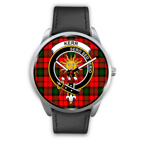 Kerr Modern Clan Badge Tartan Leather/Steel Watch - Silver - Bn08