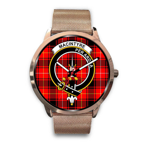 MacIntyre Modern Clan Badge Tartan Leather/Steel Watch - Rose Gold - BN04