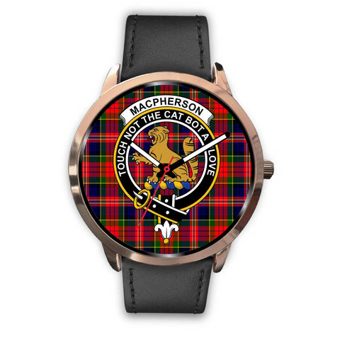 Image of MacPherson Modern Clan Badge Tartan Leather/Steel Watch - Rose Gold - BN04