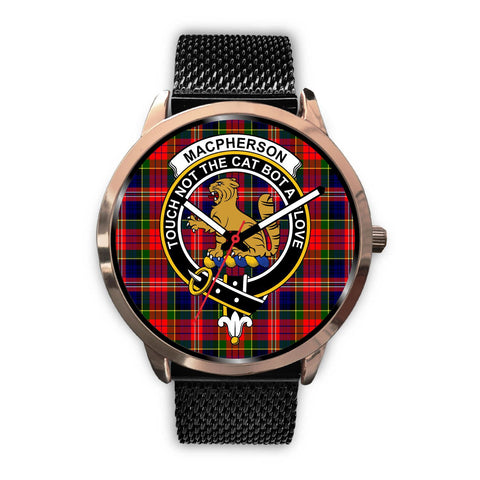 MacPherson Modern Clan Badge Tartan Leather/Steel Watch - Rose Gold - BN04
