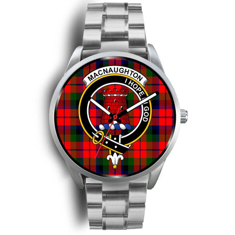 Image of MacNaughton Modern Clan Badge Tartan Leather/Steel Watch - Silver