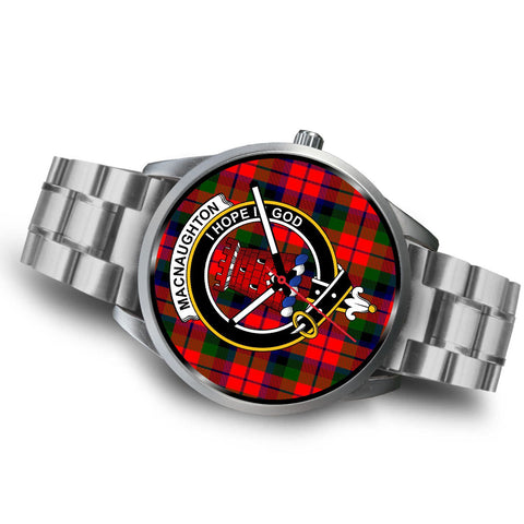 Image of Macnaughton Modern Clan Badge Tartan Leather/Steel Watch - Silver - Bn08