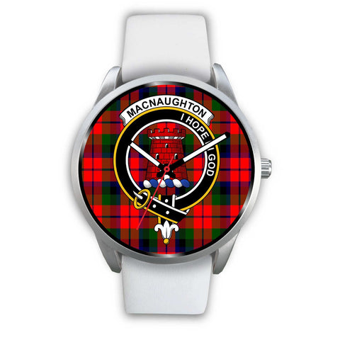 Macnaughton Modern Clan Badge Tartan Leather/Steel Watch - Silver - Bn08