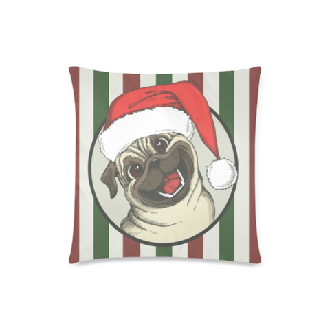 Stripe Pug Christmas Zippered Pillow H6