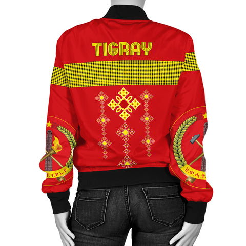 Image of 1stTheWorld Tigray Bomber Jacket, Tigray Round Pattern Flag Women A10