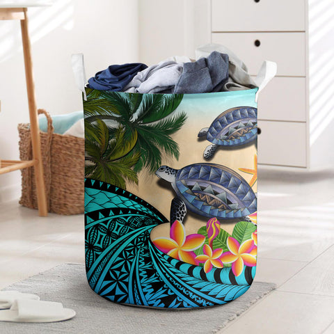 Kanaka Maoli (Hawaiian) Laundry Basket - Polynesian Turtle Coconut tree And Plumeria | Love The World