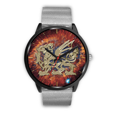 wales watch, wales leather steel watch, dragon, welsh dragon, wales symbol,galaxy