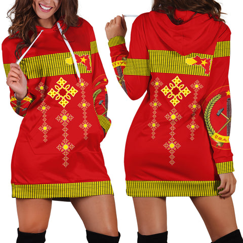 1stTheWorld Tigray Hoodie Dress, Tigray Round Pattern Flag A10