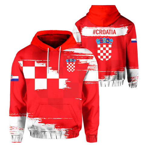 Image of Croatia Hoodie - Sport Ver Pullover Red | Clothing | 1sttheworld
