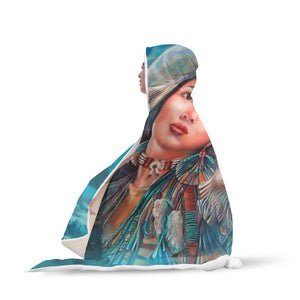 Native American Hooded Blanket Girl And Wolf J1