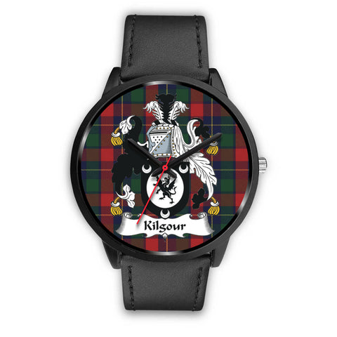 Image of Kilgour Clan Badge Tartan Leather/Steel Watch - Bn |Men and Women| 1sttheworld