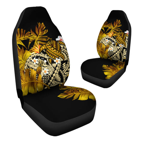 Kanaka Maoli (Hawaiian) Car Seat Cover, Polynesian Pineapple Banana Leaves Turtle Tattoo Yellow