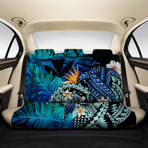 Kanaka Maoli (Hawaiian) Back Car Seat Covers - Polynesian Pineapple Banana Leaves Turtle Tattoo Blue A02