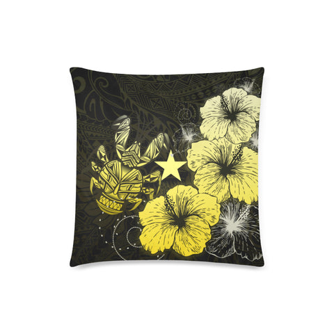 Niue Hibiscus Coconut Crab Polynesian Pillow Cases - Style Gold A10