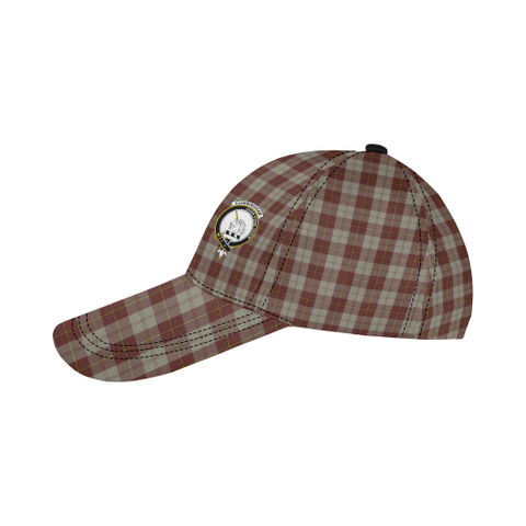 Cunningham Burgundy Dancers Clan Badge Tartan Dad Cap - BN03