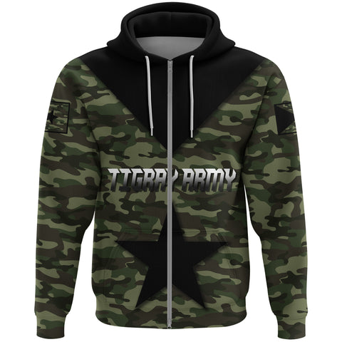 Image of 1stTheWorld Hoodie Zip - Army Tigray