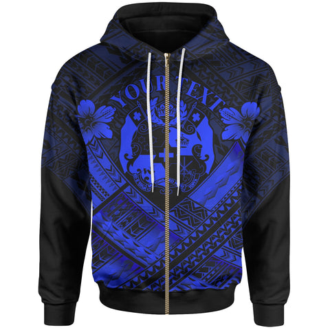 Image of Tonga Custom Polynesian  Zip-Up Hoodie - Tonga Blue Seal Camisole Hibiscus Style