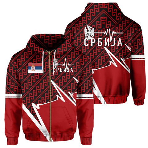 Serbia Zip Hoodie - Србија In My Heartbeat | Clothing | 1sttheworld
