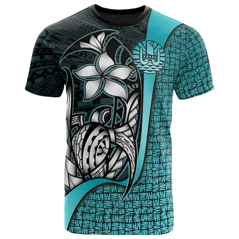 Tahiti Polynesian T-Shirt Turquoise - Turtle with Hook