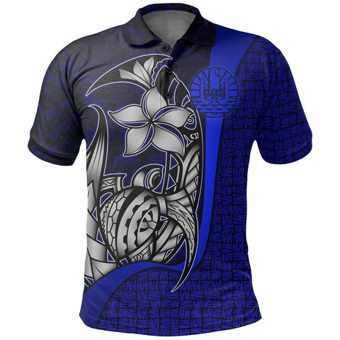 Image of Tahiti Polo Shirt Blue - Turtle with Hook