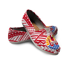 French Polynesia Women's Casual Shoe - Coat of Arms on Polynesian Pattern A0
