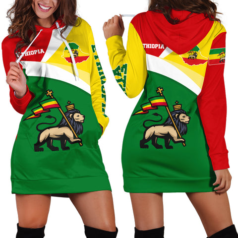 1stTheWorld Ethiopia Hoodie Dress, Ethiopia Flag Maps Green A10