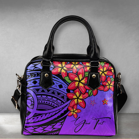 (Custom) Polynesian Plumeria Purple Shoulder Handbag Personal Signature A24