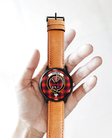 Fraser Modern Clan Badge Tartan Leather/Steel Watch - BN