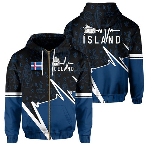 Iceland Zip Hoodie - Ísland In My Heartbeat | Clothing | 1sttheworld
