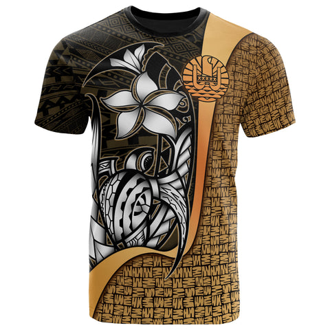 Tahiti Polynesian T-Shirt Gold - Turtle with Hook