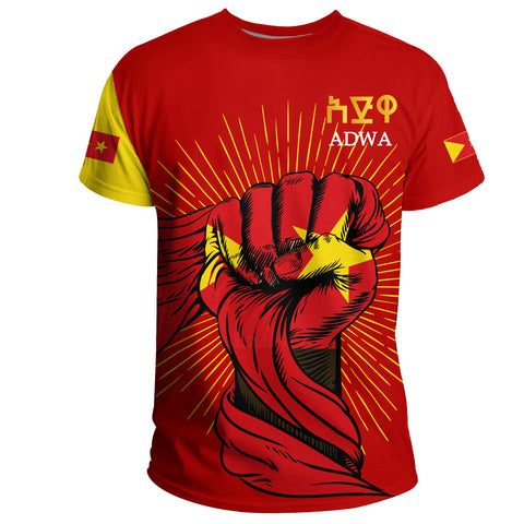 1stTheWorld Tigray T-shirt, Tigray Clenched Hand Raised Flag A10