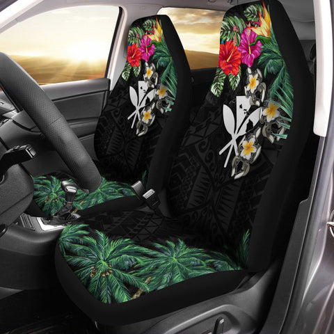 Kanaka Maoli (Hawaiian) Car Seat Covers - Hibiscus Turtle Tattoo Black A02