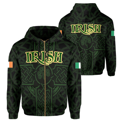 Ireland Zip Hoodie - Irish Celtic Cross | Clothing | 1sttheworld