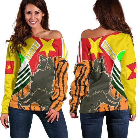 1sttheworld Tigray Women's Off Shoulder Sweater - Tigray Pride - BN21