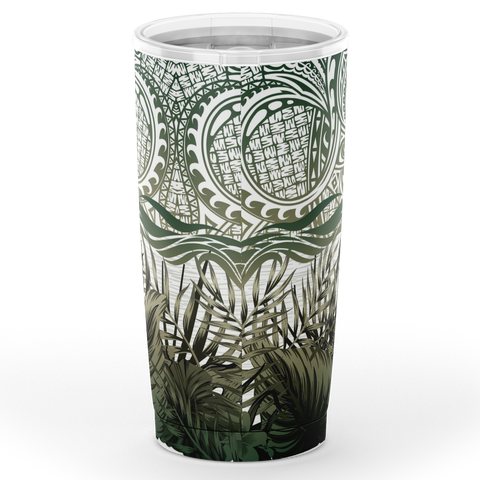 Kanaka Maoli (Hawaiian) Tumbler, Polynesian Palm Leaves Hibiscus Plumeria Flowers (Pine Green) | Love The World