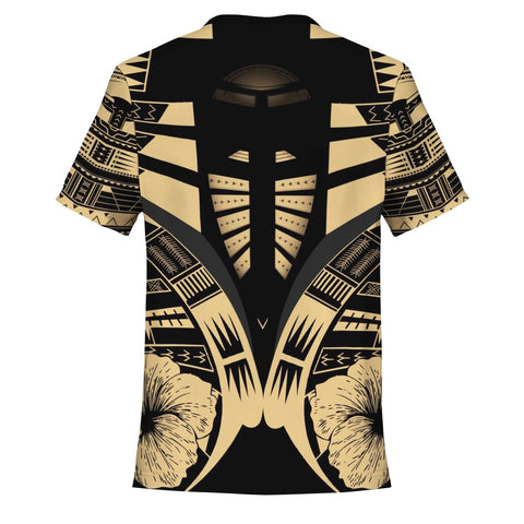 Image of Polynesian Tattoo T Shirt Hibiscus Gold - Back