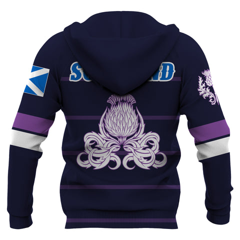 Image of Scotland Lion Rampant with Thistle Hoodie - Rugby Style back 2