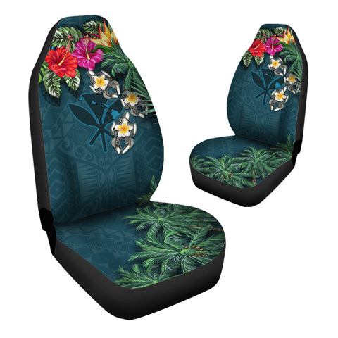 Kanaka Maoli (Hawaiian) Car Seat Covers - Hibiscus Turtle Tattoo Blue A02