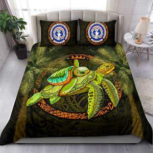 Image of Northern Mariana Islands Bedding Set - 1sttheworld Turtle Palm Tree - BN39