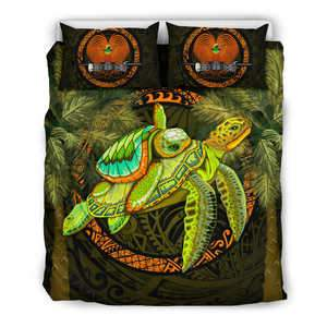 Papua New Guinea Bedding Set - 1sttheworld Turtle Palm Tree - BN39