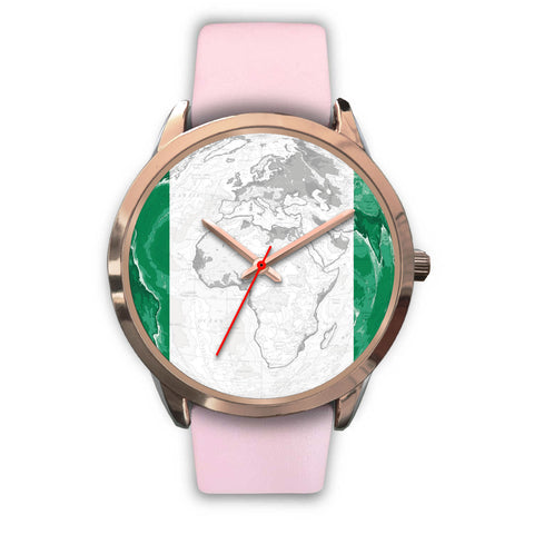 World Map With Flag Nigeria Rose Gold Watch K4