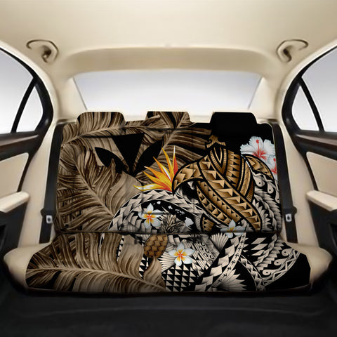 Kanaka Maoli (Hawaiian) Back Car Seat Covers - Polynesian Pineapple Banana Leaves Turtle Tattoo Gold A02