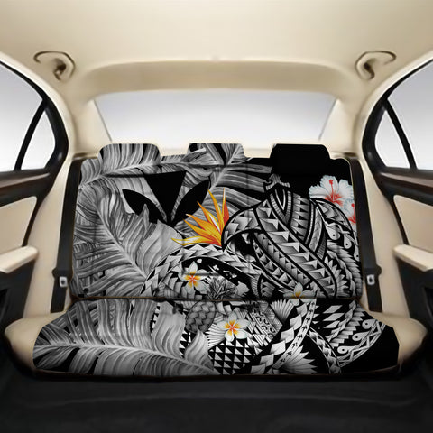 Kanaka Maoli (Hawaiian) Back Car Seat Covers - Polynesian Pineapple Banana Leaves Turtle Tattoo Gray A02