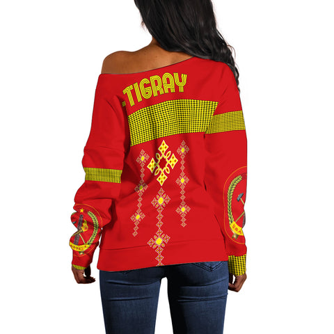 1stTheWorld Tigray Off Shoulder Sweater, Tigray Round Pattern Flag A10