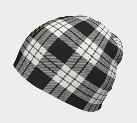 MacFarlane Black & White Ancient Tartan Clan Crest Beanie Hj4