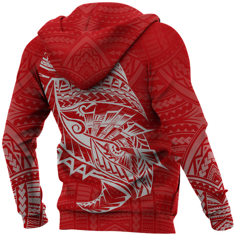 Image of Samoa Tattoo Rugby Style Hoodie Red K4