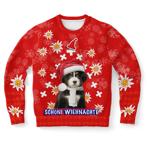 Christmas Edelweiss Switzerland Sweartshirt Bernese Mountain Dog Front | 1sttheworld