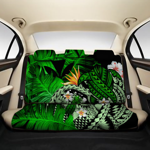 Kanaka Maoli (Hawaiian) Back Car Seat Covers - Polynesian Pineapple Banana Leaves Turtle Tattoo Green A02
