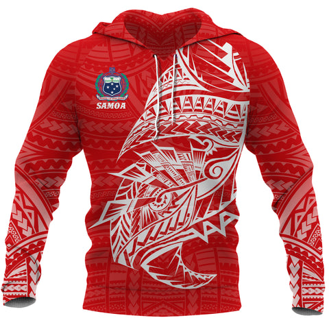 Image of Samoa Tattoo Rugby Style Hoodie Red