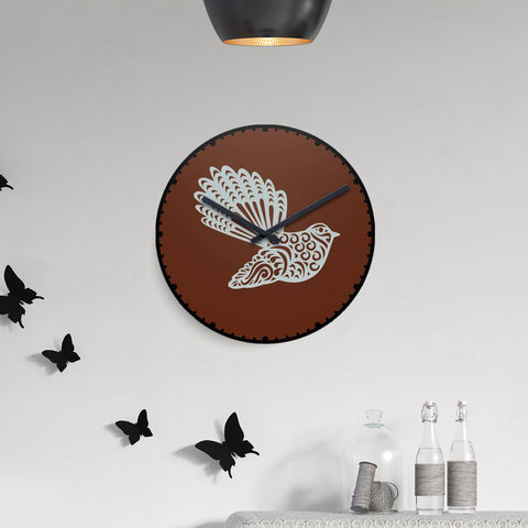 Image of - fantail wall clock, home decor, clocks, newzealand clock
